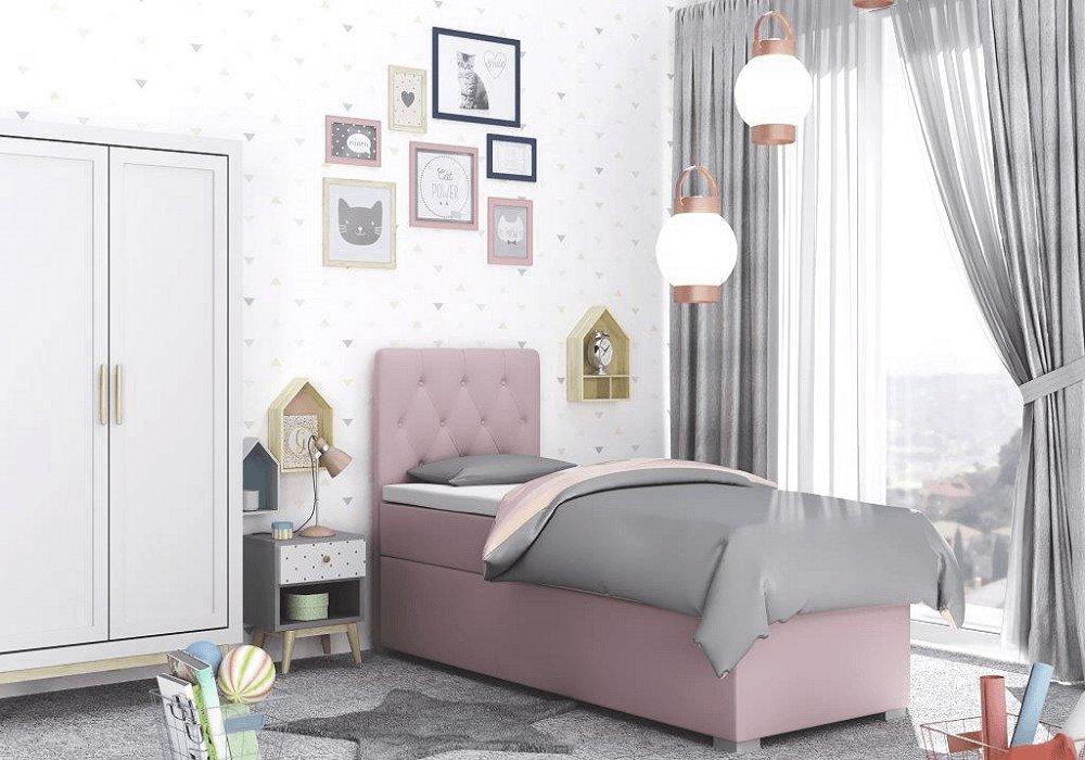 Boxspringová posteľ, jednolôžko, fialová, 90x200, ľavá, BARY