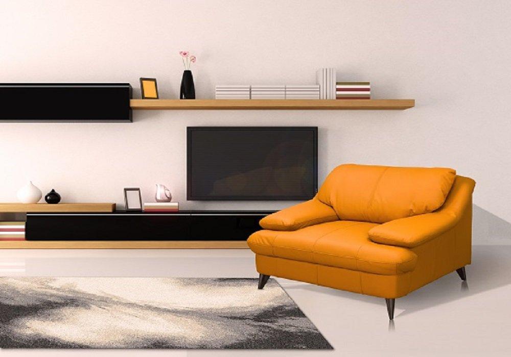 Pohodlné kreslo Libera v mangovej farbe