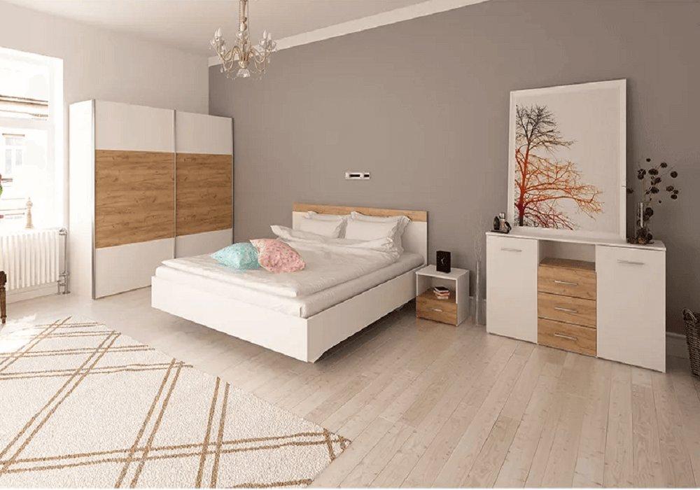 Mobilier modular pentru dormitor Gabriela, stejar wotan / alb