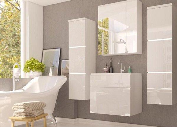 Kúpeľňový nábytok Mason v bielom lesku