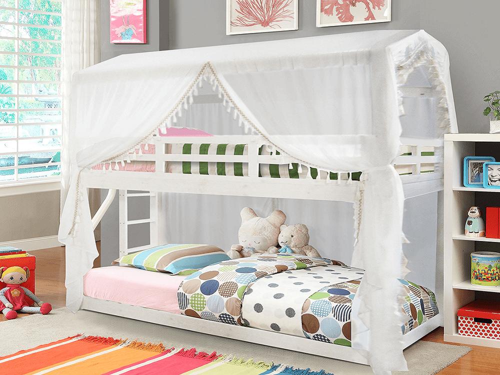 Montessori emeletes ágy, fehér, 90x200, ZEFIRE