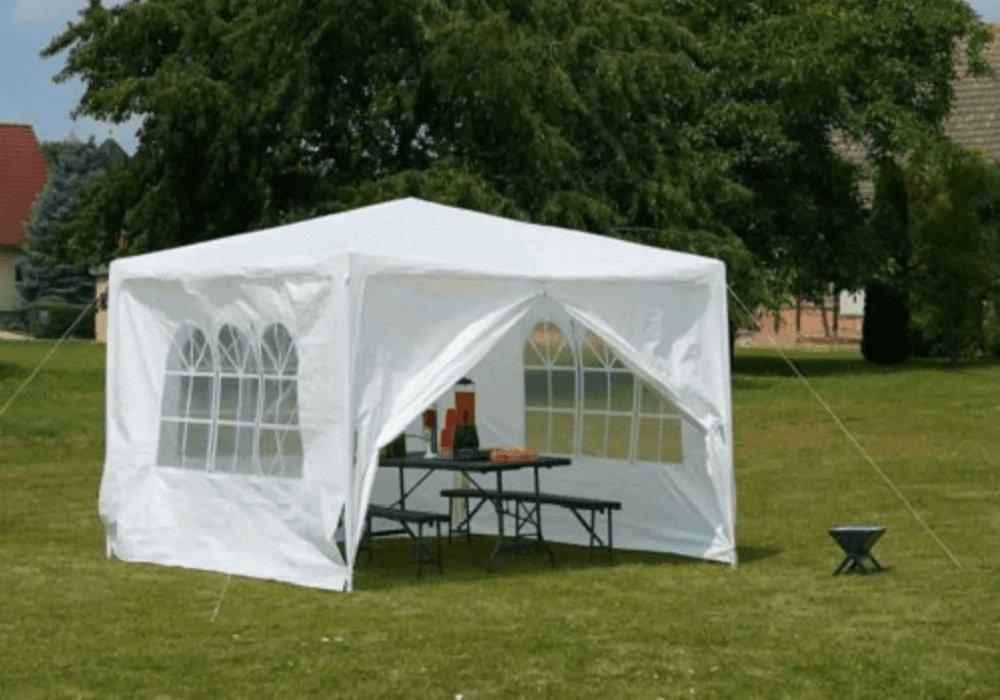 Záhradný párty stan, biela, 3x3 m, TEKNO TYP 1 + 4 bočné strany