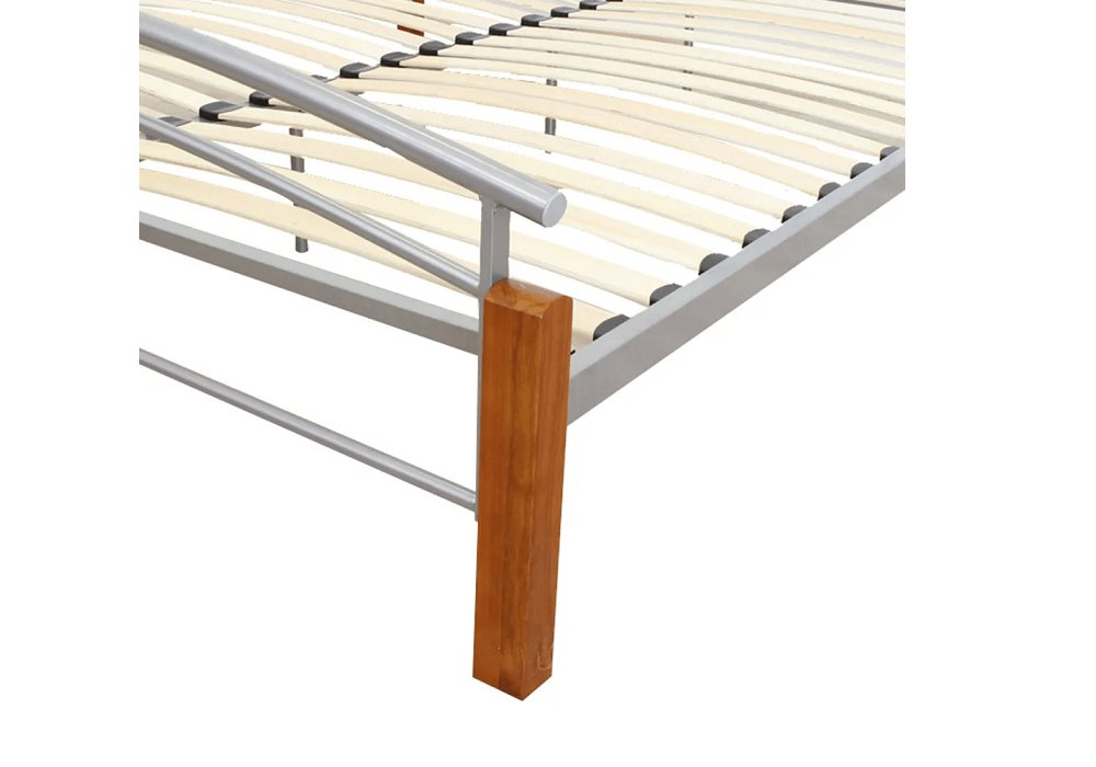 Manželská posteľ, drevo jelša/strieborný kov, 160x200, MIRELA