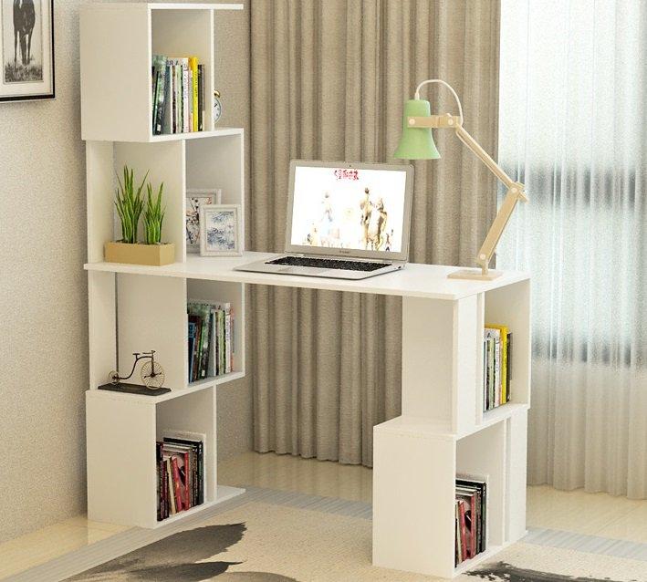 Písací stôl s regálom Floki v bielej farbe