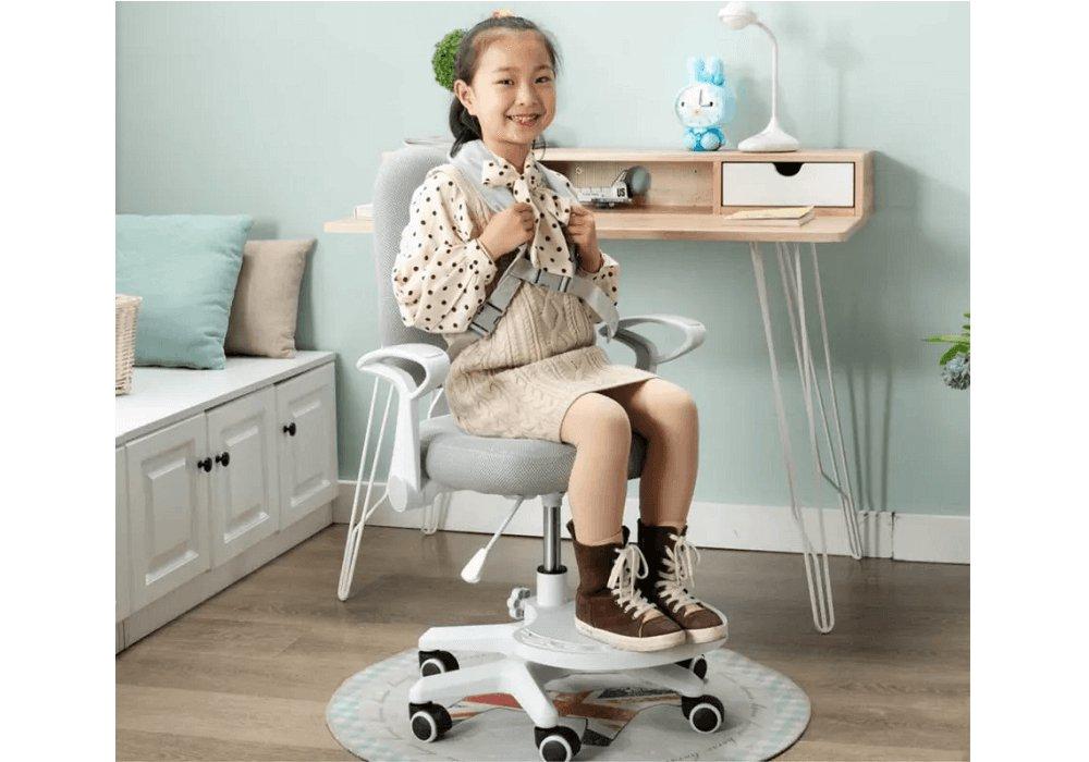 Scaun reglabil cu suport pentru picioare şi curele, gri/alb, ANAIS