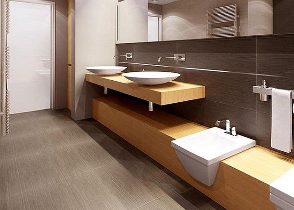 Bukový nábytok v sivohnedej kúpeľni