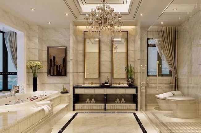 Luxusný luster v kúpeľni