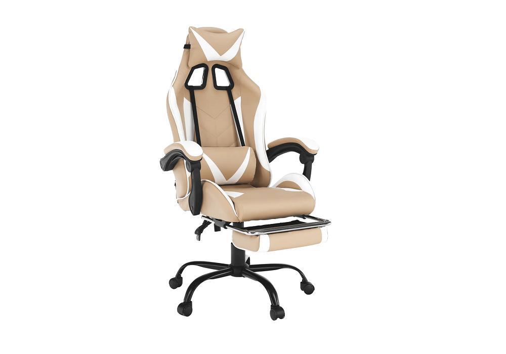 Kancelárske/herné kreslo, čierna/biela/béžová, OZGE NEW