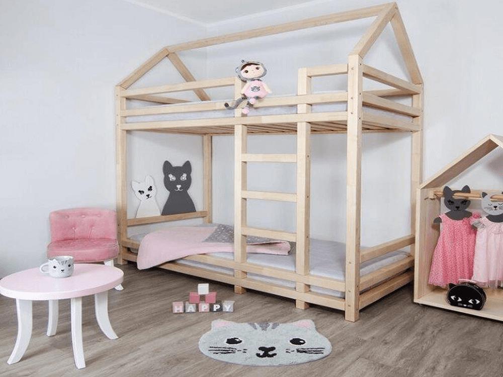 Poschodová posteľ, prírodná, 90x200, FREYA