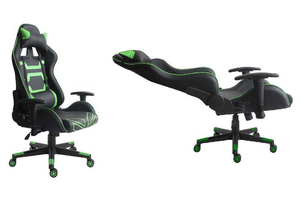 Herné kreslo Bilgi, kombinácia čiernej a zelenej