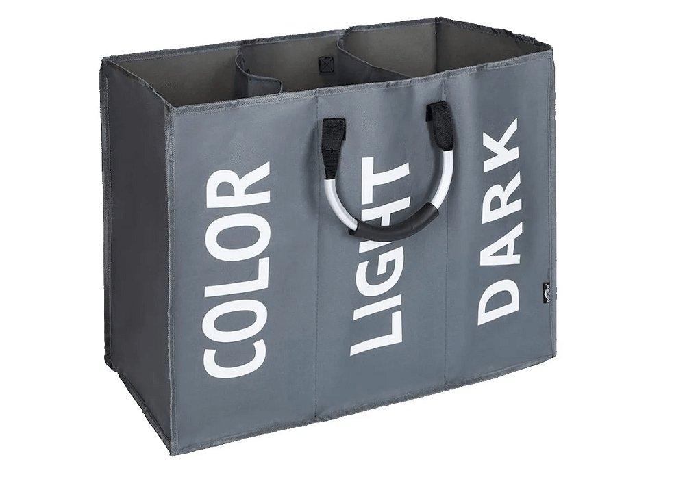 Látkový kôš na bielizeň, sivá/strieborná/biela, DEKLIN