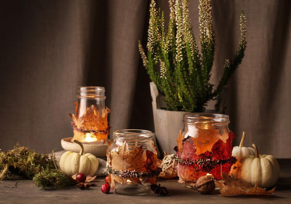 Sklenené nádoby ako jesenné dekorácie
