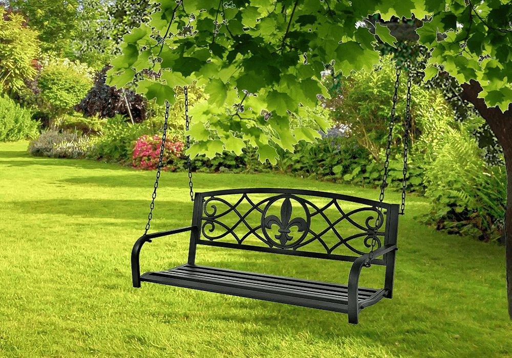Záhradná hojdačka, čierna, ABEA
