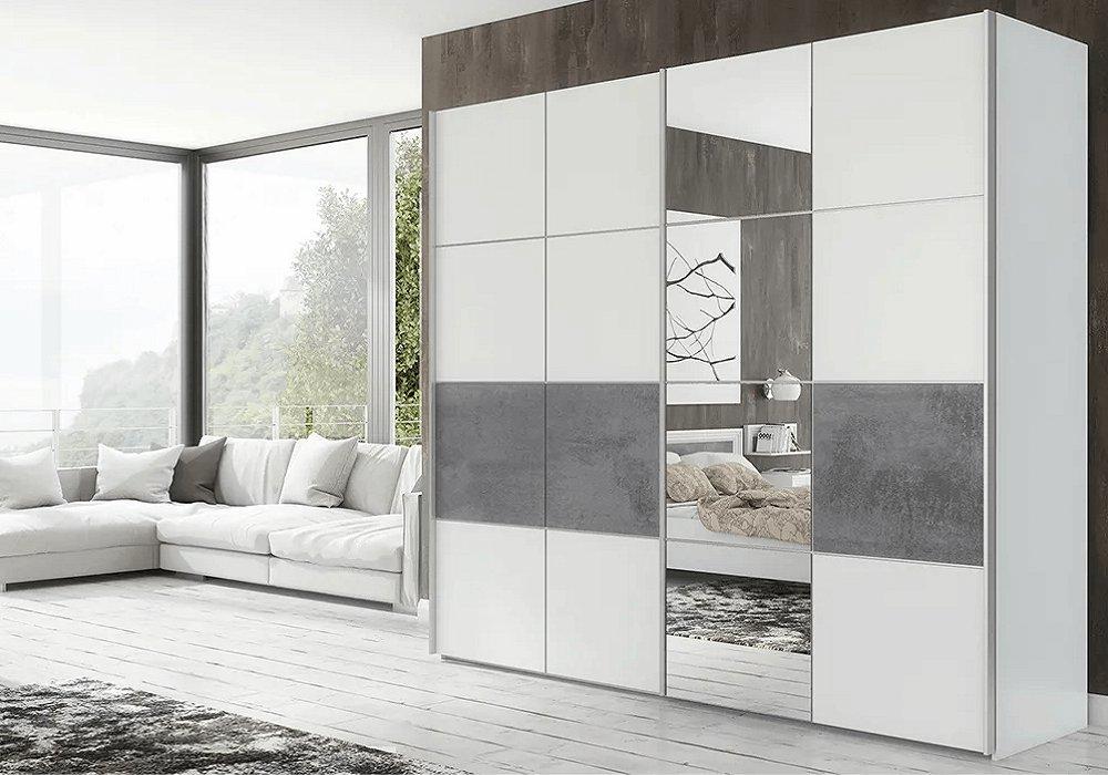 Skriňa s posúvnymi dverami, sivá/matná biela, PUNO