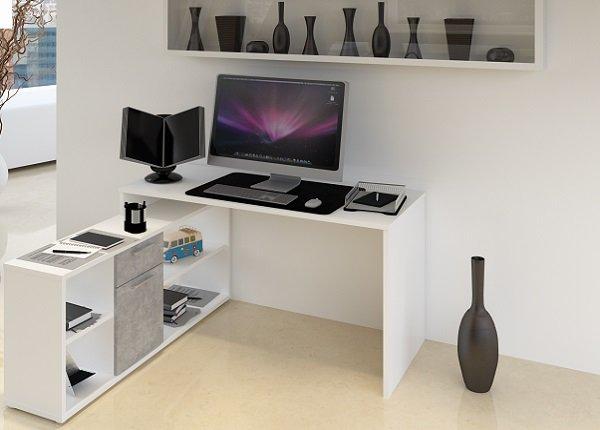 Písací stolík Noe New beton/biela