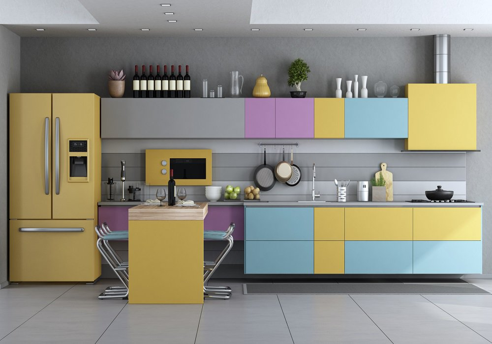 Moderná farebná kuchyňa