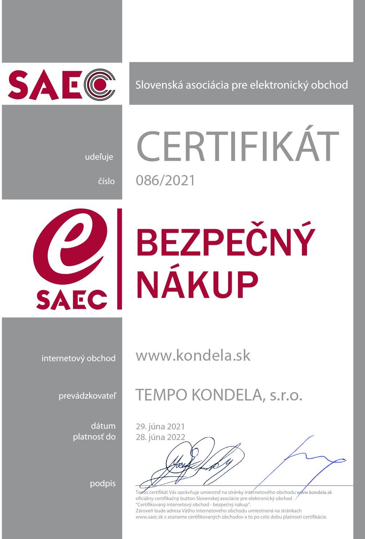 Certifikát SAEC bezpečný nákup - www.kondela.sk