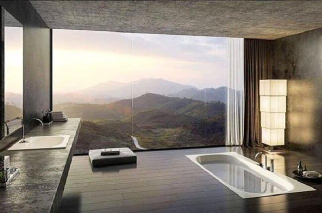 Krásny výhľad z kúpeľne