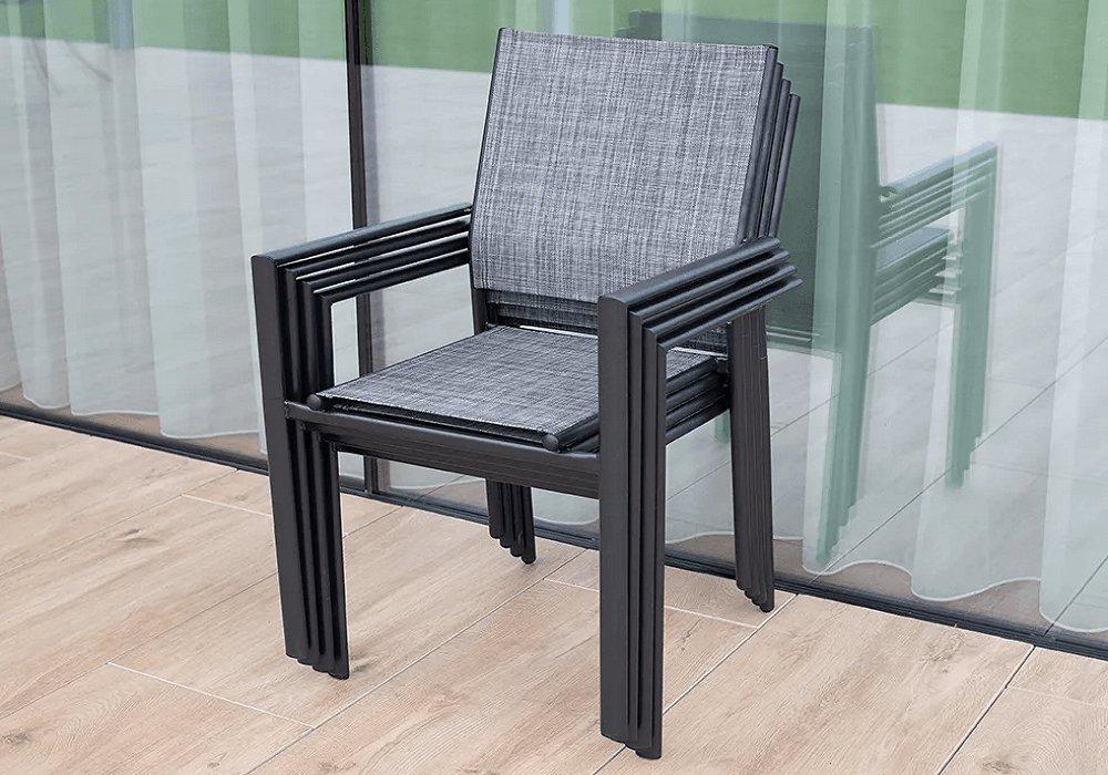 Záhradná stolička Telma, sivá, čierna