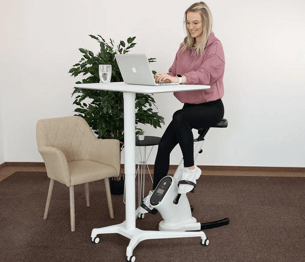 Kancelárska stolička/stacionárny bicykel, biela, BIKE