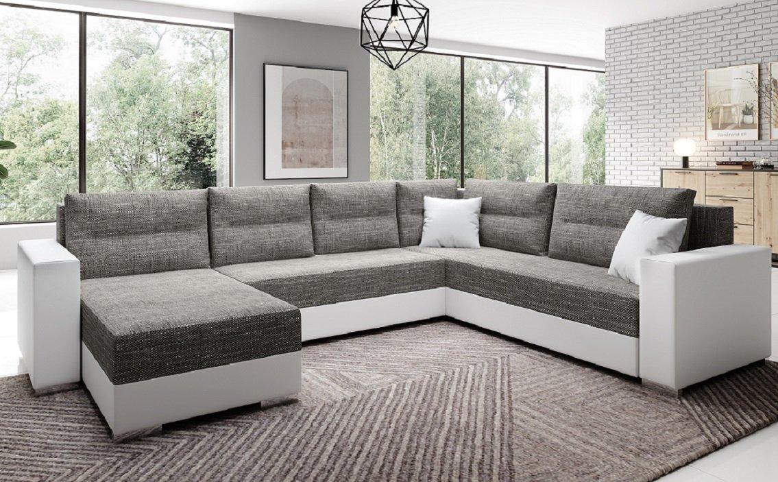 Moderná sedačka Stila v tvare U, sivá a biela