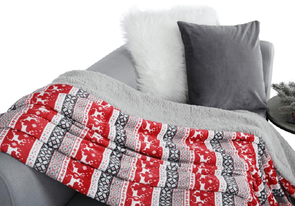 Baránková deka Renife so vzorom