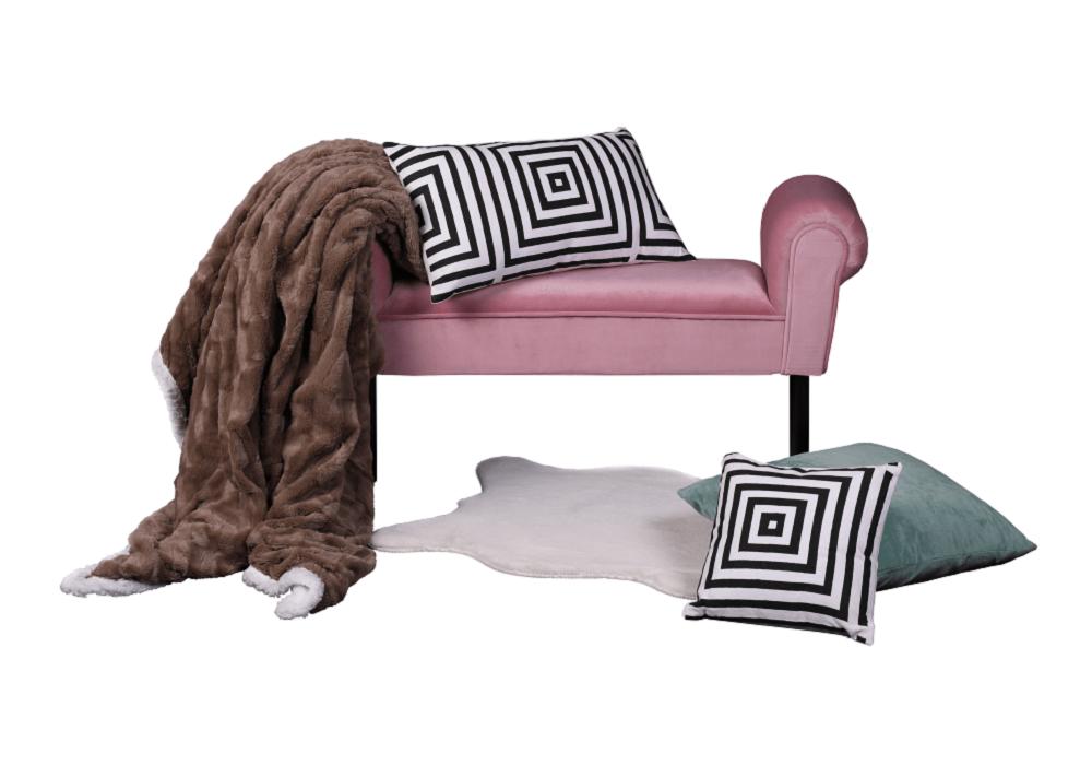 Hnedá deka Abaka na ružovej lavici Fabricio