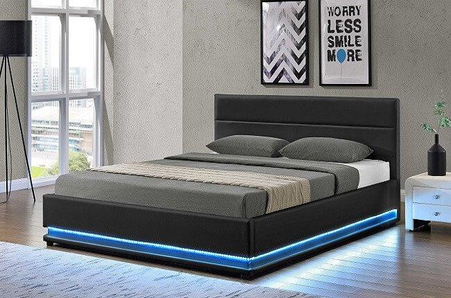 Manželská posteľ Birget s osvetlením, čierna s rozmerom 180x200 cm