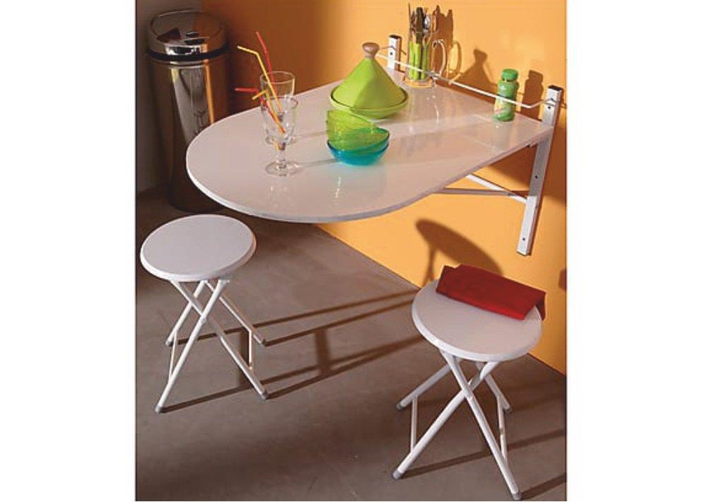 Skladací stôl Amadeo a stoličky v bielej farbe
