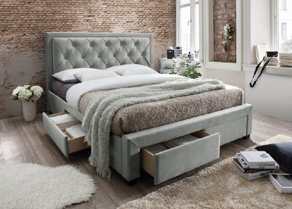 Dekoratívne prešívaná manželská posteľ so šuplíkmi Orea