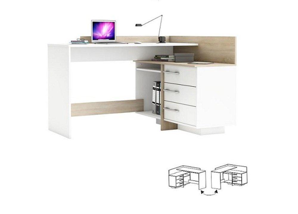 Rohový písací stôl Tale v prevedení biela a dub sonoma