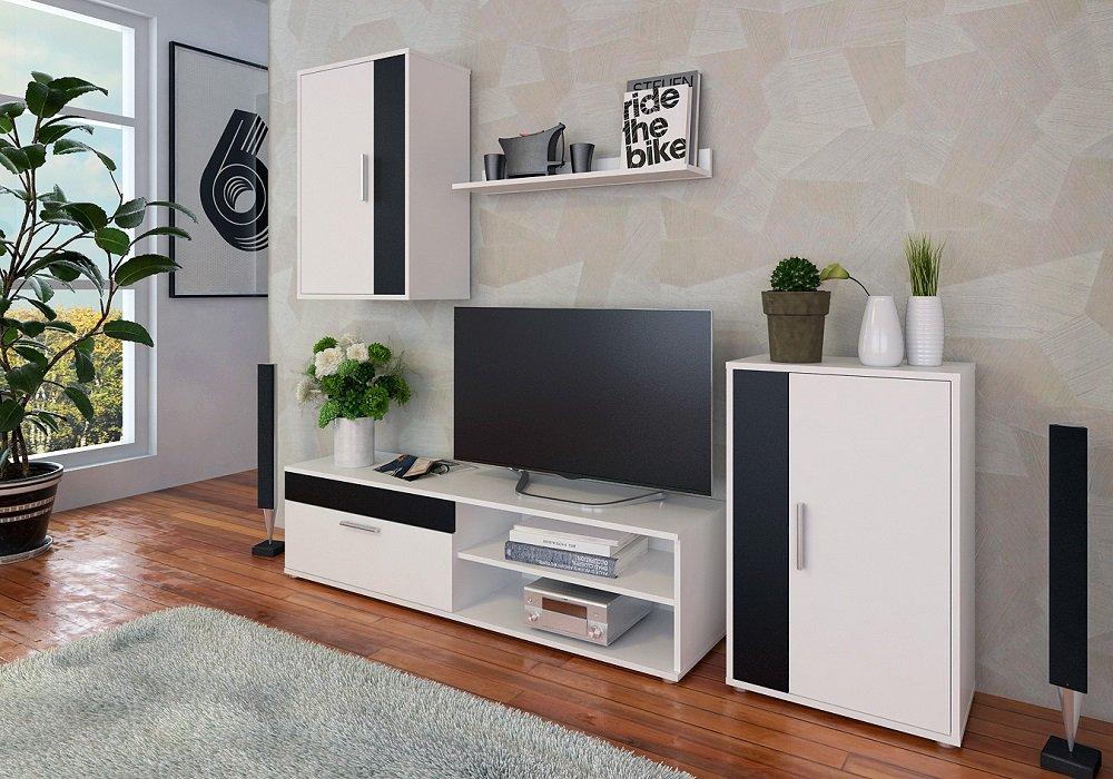 Obývacia stena Kevin, biela, čierna