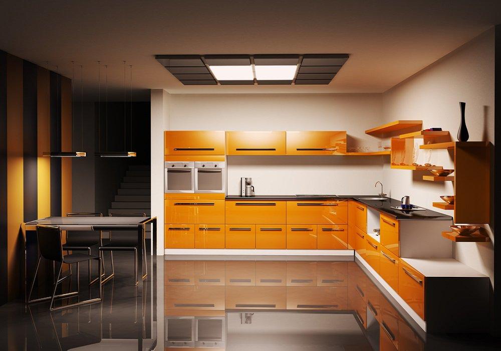 Oranžové kuchynské skrinky v kombinácii s tmavými farbami