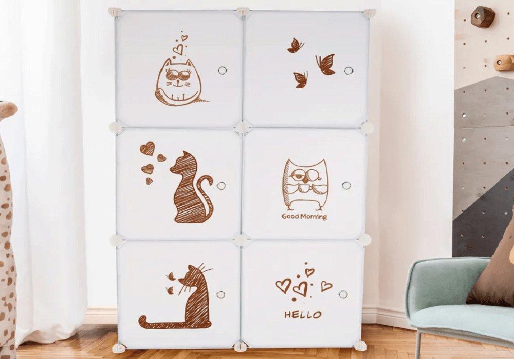 Detská modulárna skrinka, biela/detský vzor, DINOS
