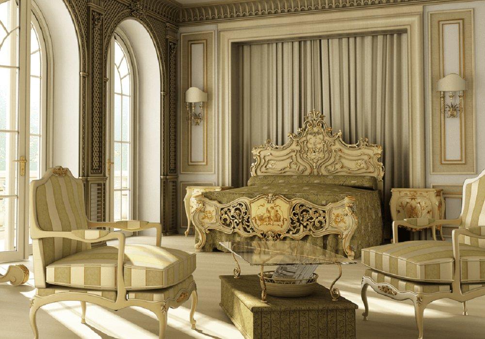 Baroková posteľ v zlatom prevedení