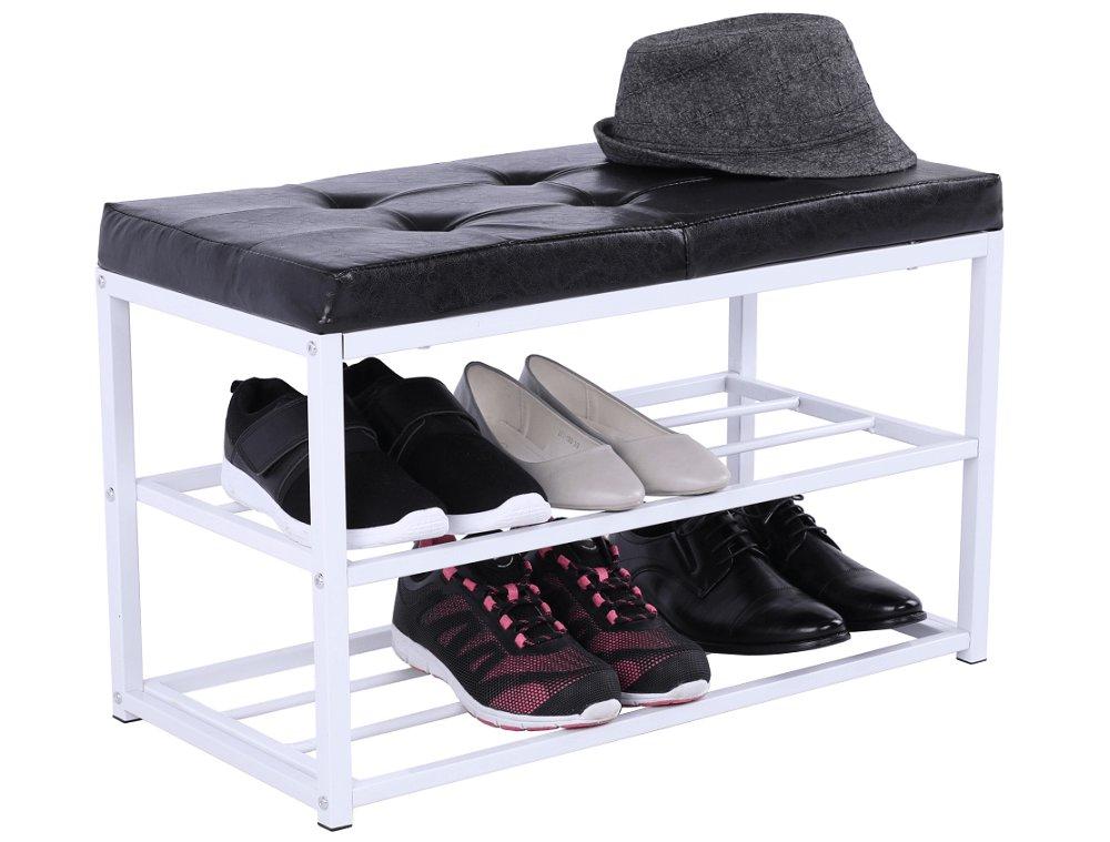 Cipőtároló pad, feketefehér, LYROS