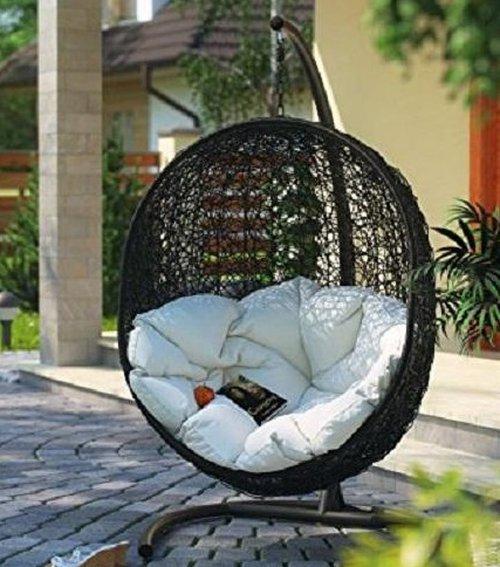 Függő dupla fotel, barna/bézs, DALVEA