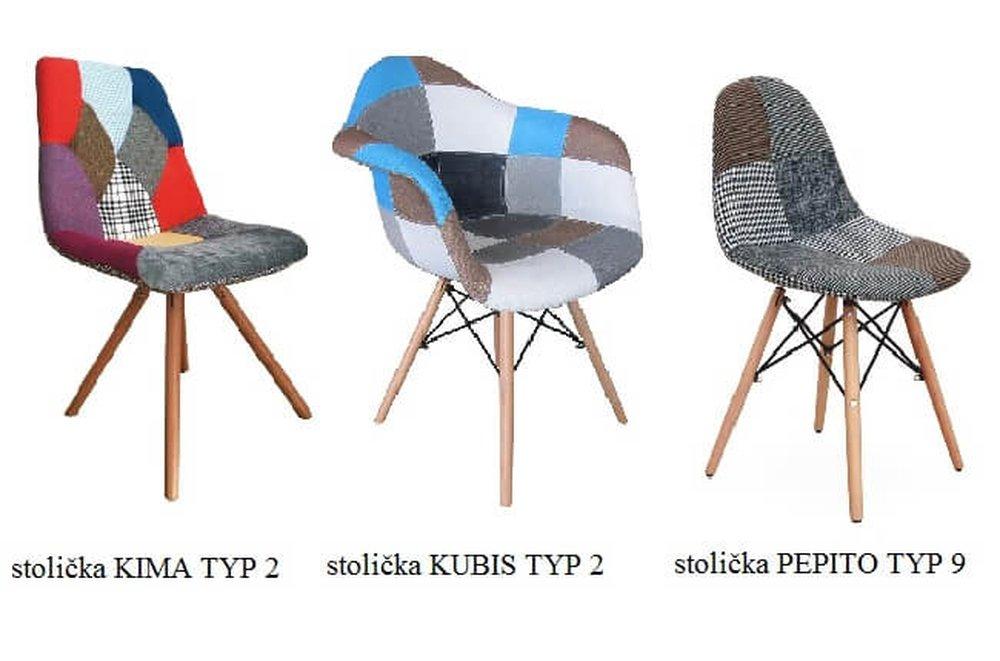 Stoličky s látkou patchwork