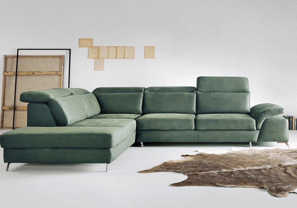 Rohová sedačka Alvaro v zelenej látke