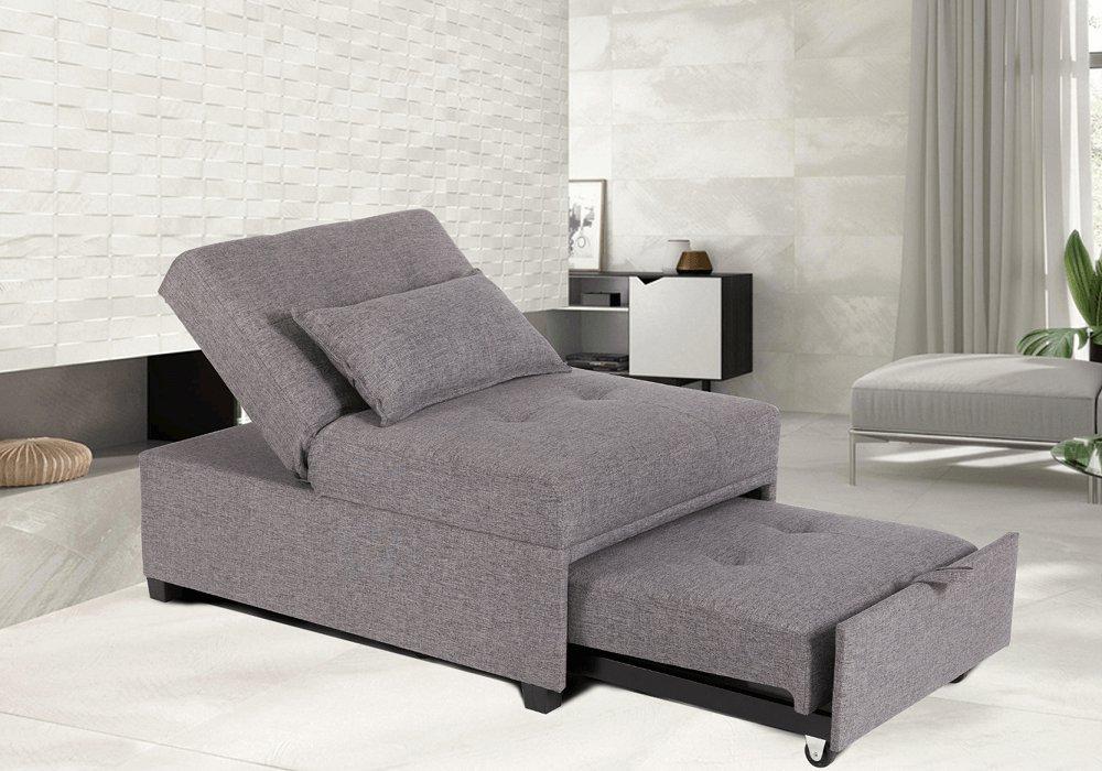 Fotoliu extensibil, material textil gri deschis, OKSIN