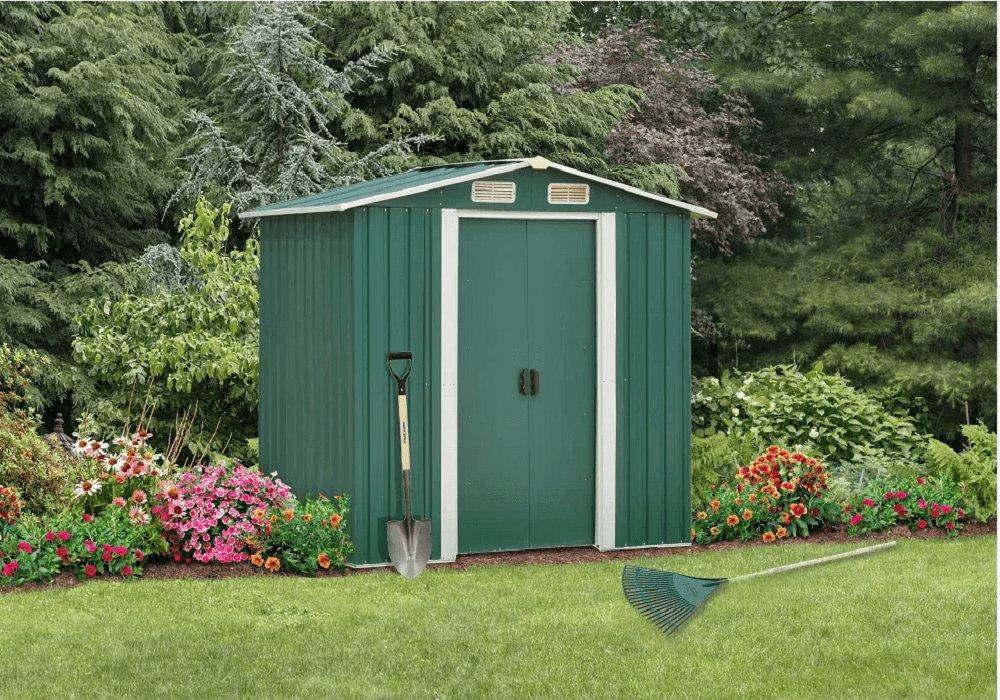 Plechový záhradný domček na náradie, zelená/biela, 2x1,3m, HAMAL TYP 1