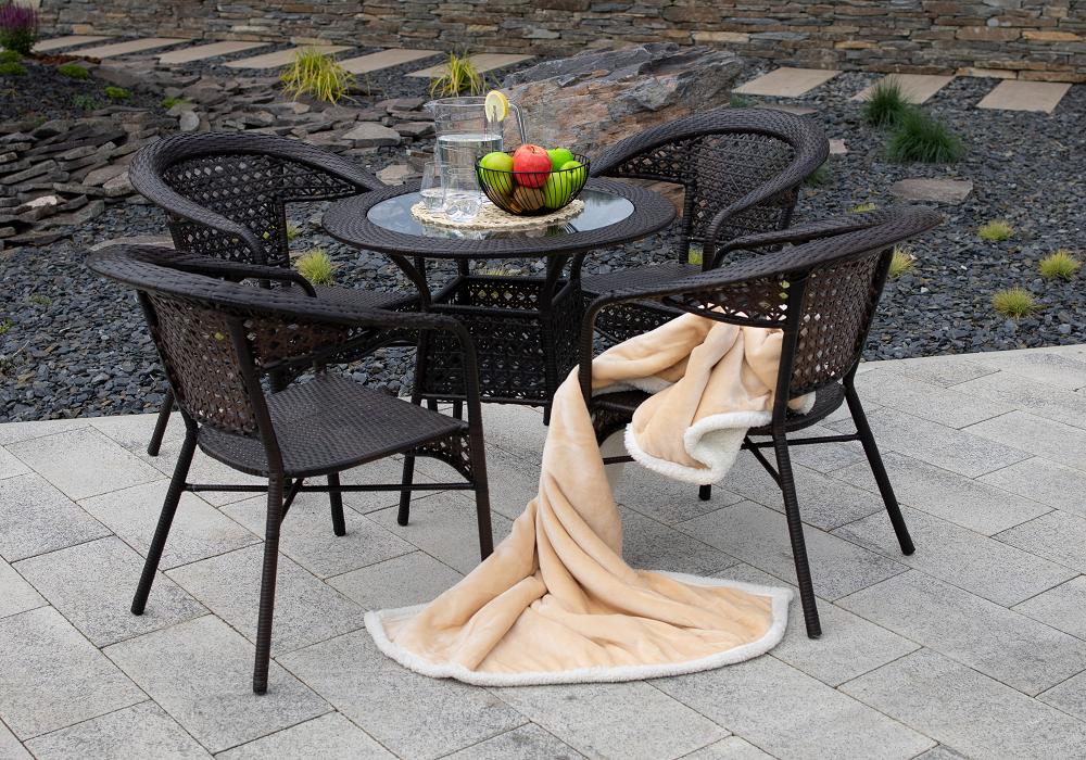 Záhradný set Geton, stôl a 4 stoličky