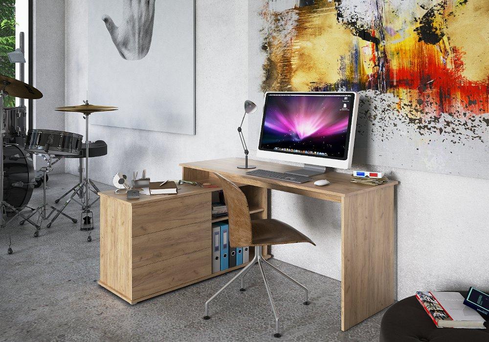 PC stôl Torino s úložným priestorom, dub artisan