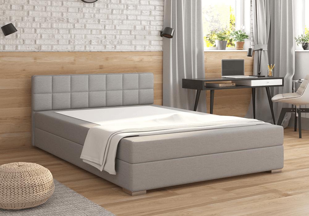Boxpring típusú ágy 120x200, világosszürke, FERATA KOMFORT