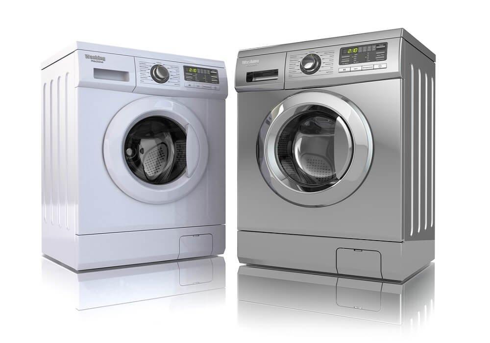 Biela práčka a antikorová sušička