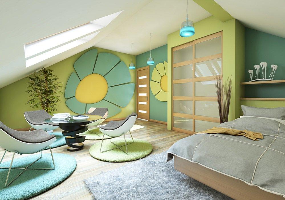 Samostatné izby v podkroví s moderným nábytkom