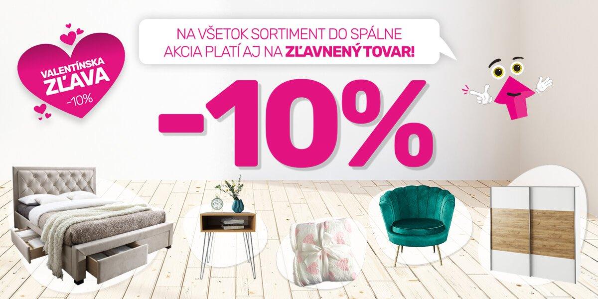 Valentínska akcia: Zľava 10% na všetko v kategórií spálňa
