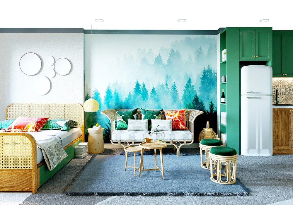 Domácnosť v eklektickom štýle, veľa farieb, rôzny nábytok