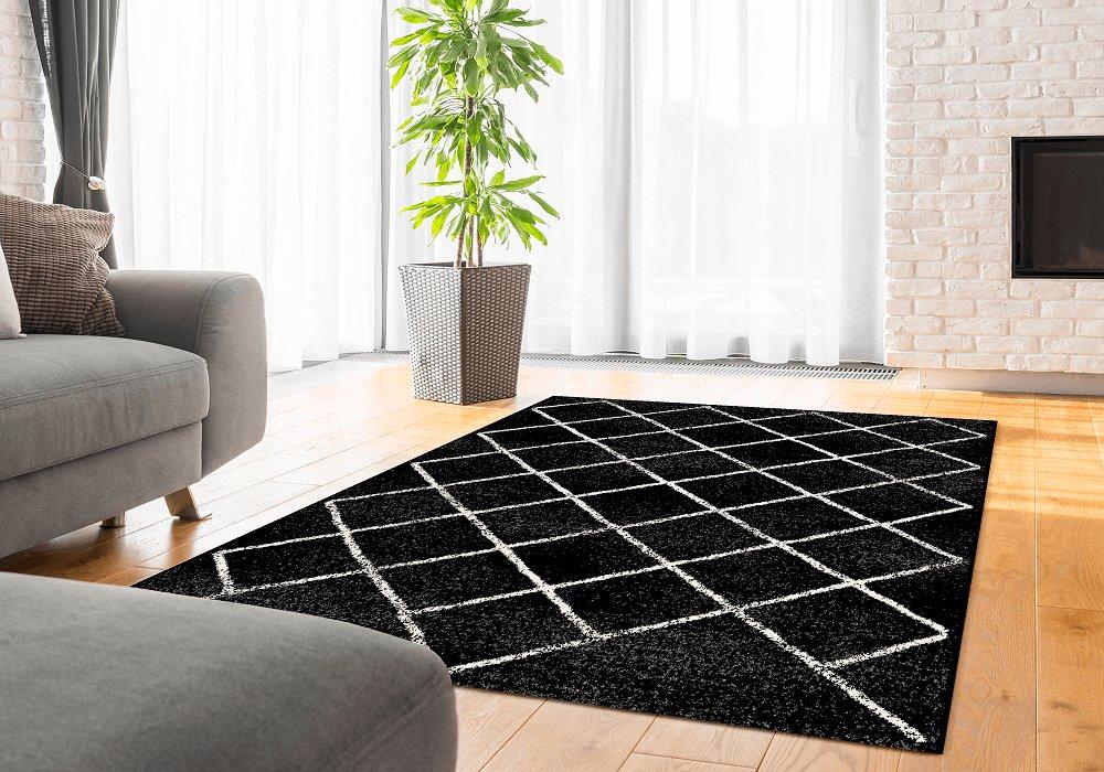 Covor, negru/model, 57x90 cm, MATES TYP 1
