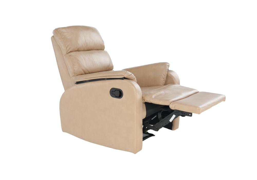 Relaxačné kreslo Vanden s podnožou v béžovej ekokoži